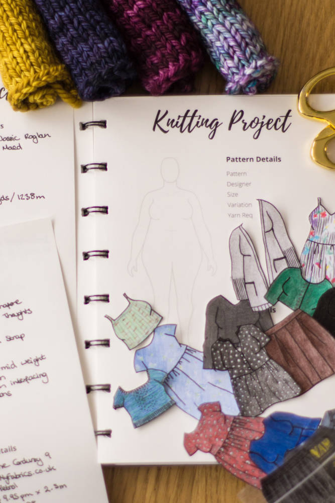 Victoria is planning her knitting project ideas using fashion sketch templates that reflect her body shape to make a paper doll.