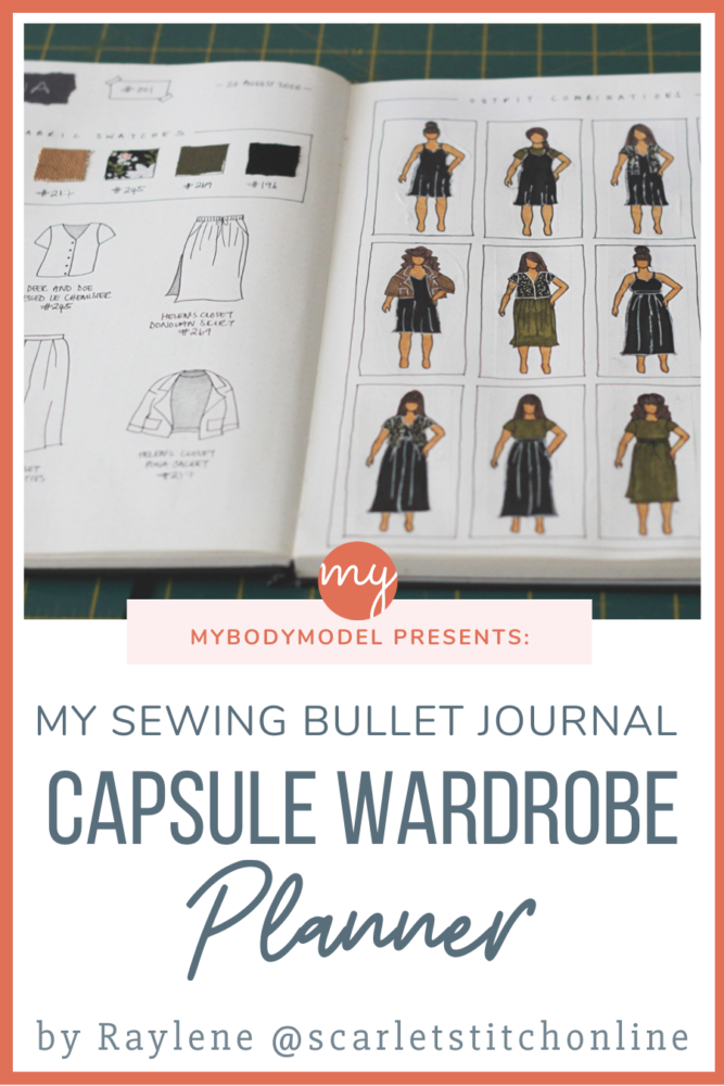 Raylene planned a polished & versatile capsule wardrobe using her sewing bullet journal and her personal croquis from MyBodyModel. See her beautiful and organized 2-page bujo planner spreads, and how she chose 6 garments to create more than 12 outfits!