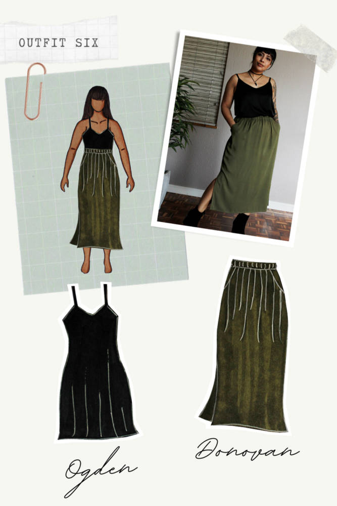 Capsule Wardrobe Sewing outfits from sketch to finish! Outfit 6: black Ogden Cami Dress (work as top) + khaki olive Donovan Skirt. I sketched each outfit on my personalized croquis fashion drawing templates from MyBodyModel.