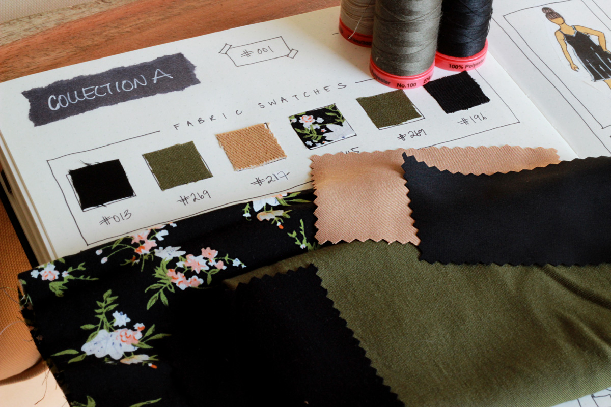 My fabric swatches for my capsule Collection A #001. I chose mostly rayon twills for the fabric, and went with a colour scheme of black, khaki, tan and dark floral.