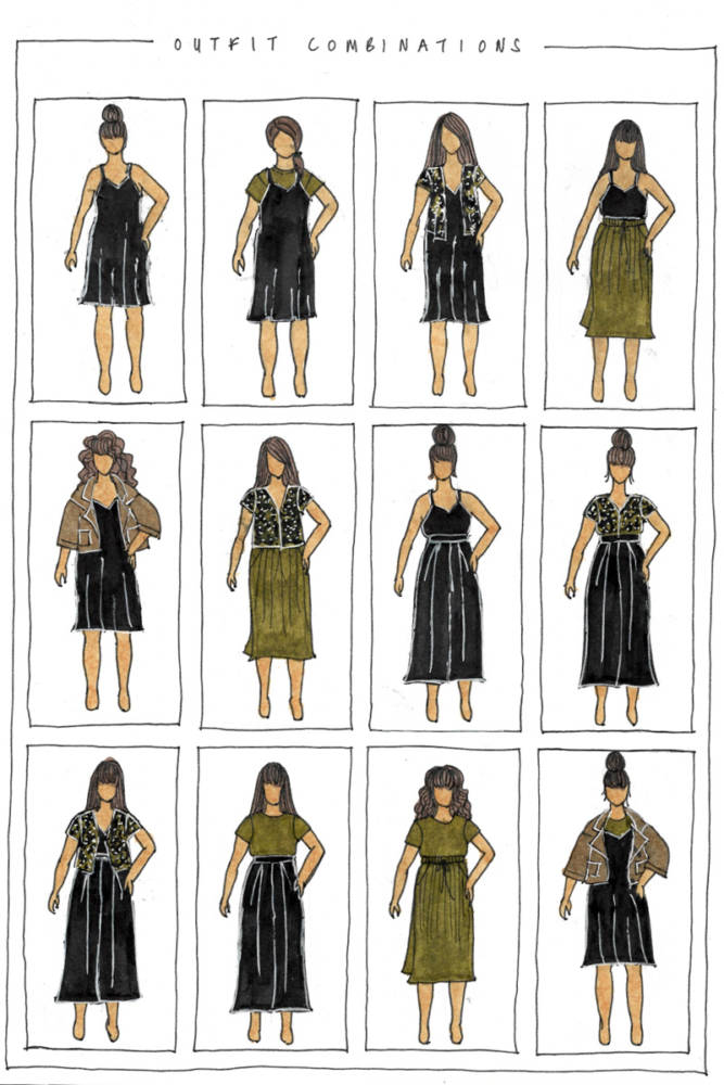 Close up of the right page in my 2-page sewing bullet journal Capsule Wardrobe Planner: 12 outfit combinations sketched on my body model croquis. Patterns include Pona Jacket, Ogden Cami dress, Winslow Culottes, Donovan Skirt, and Deer & Doe La Blouse & Le Chemisier.
