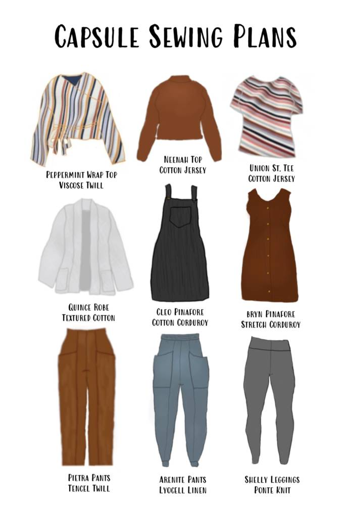 Alyssa's final autumn capsule wardrobe garment plans: Peppermint Wrap Top by In the Folds, Neenah Top by Seamwork, Union St. Tee by Hey June Handmade, Quince Robe by Seamwork, Cleo Pinafore by Tilly and the Buttons, Bryn Pinafore by Seamwork, Pietra Pants by Closet Core, Arenite Pants by Sew Liberated, Shelly leggings by Seamwork